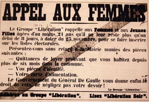 29 avril 1945 les femmes votaient pour la premi re fois tout pour les femmes. Black Bedroom Furniture Sets. Home Design Ideas