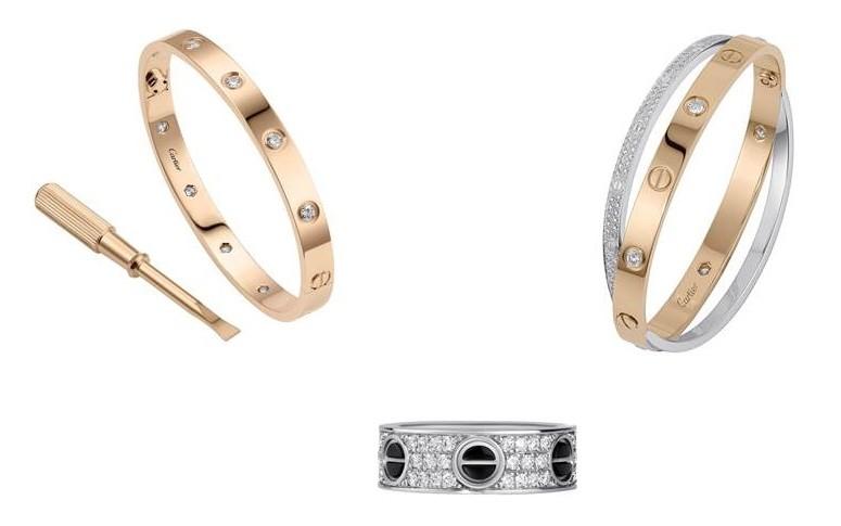 Cartier bracelet Love or jaune et diamants, bracelet double or rose, or  blanc et diamants et bague or, diamants et céramique noire